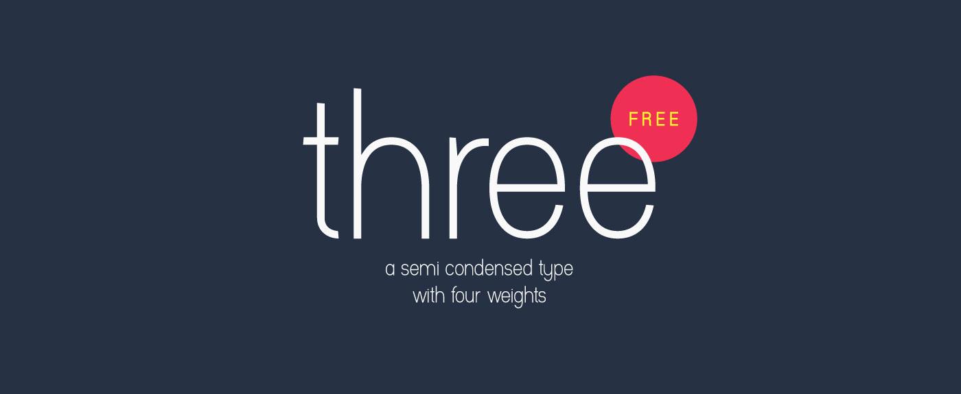 Three – a Free Semi Condensed Font