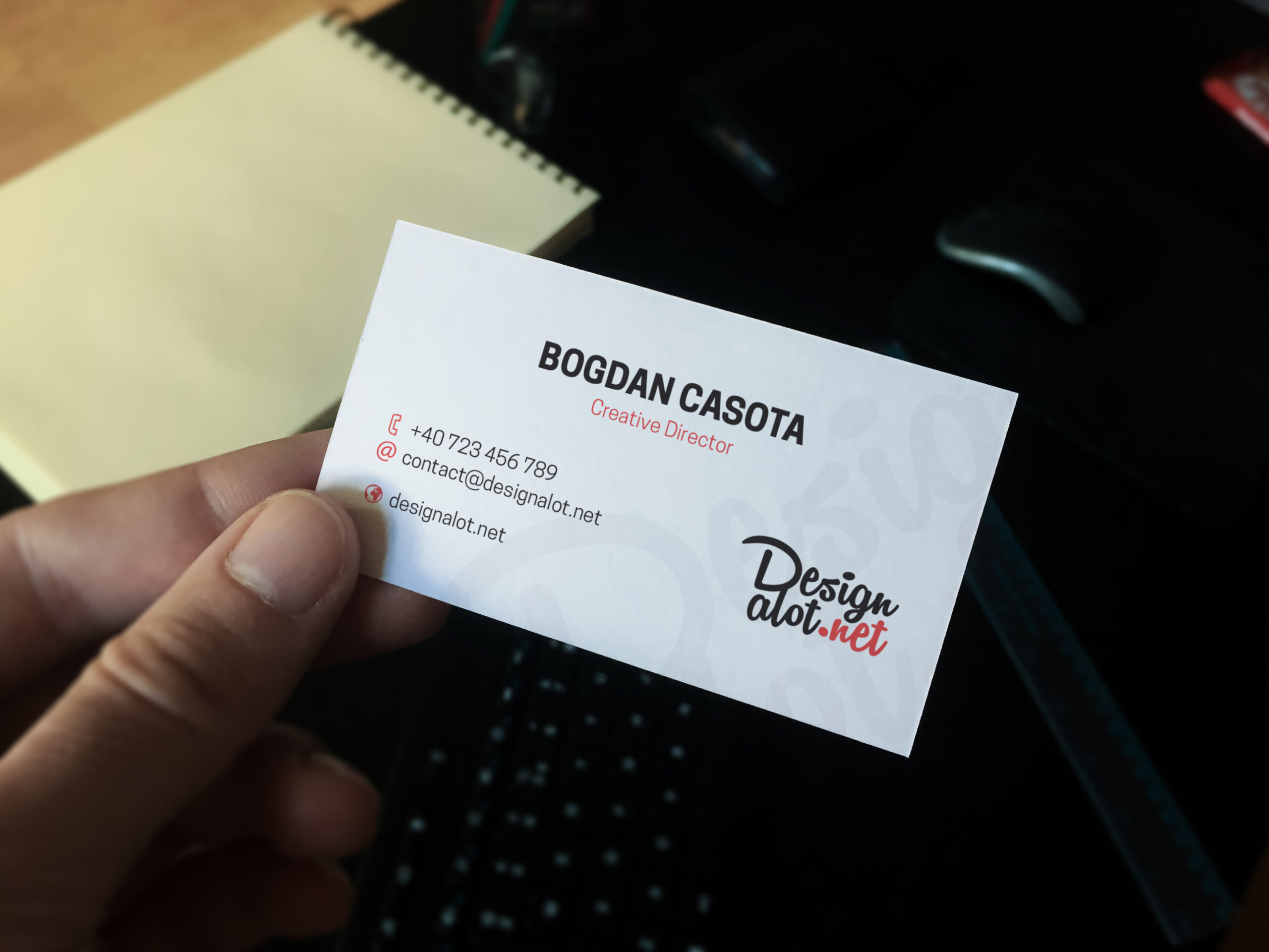 Realistic Business Card in Hand Mockup FREE Sample