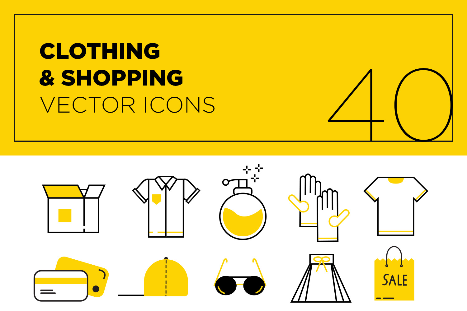 40 Modern Flat Clothing & Shopping Vector Icons