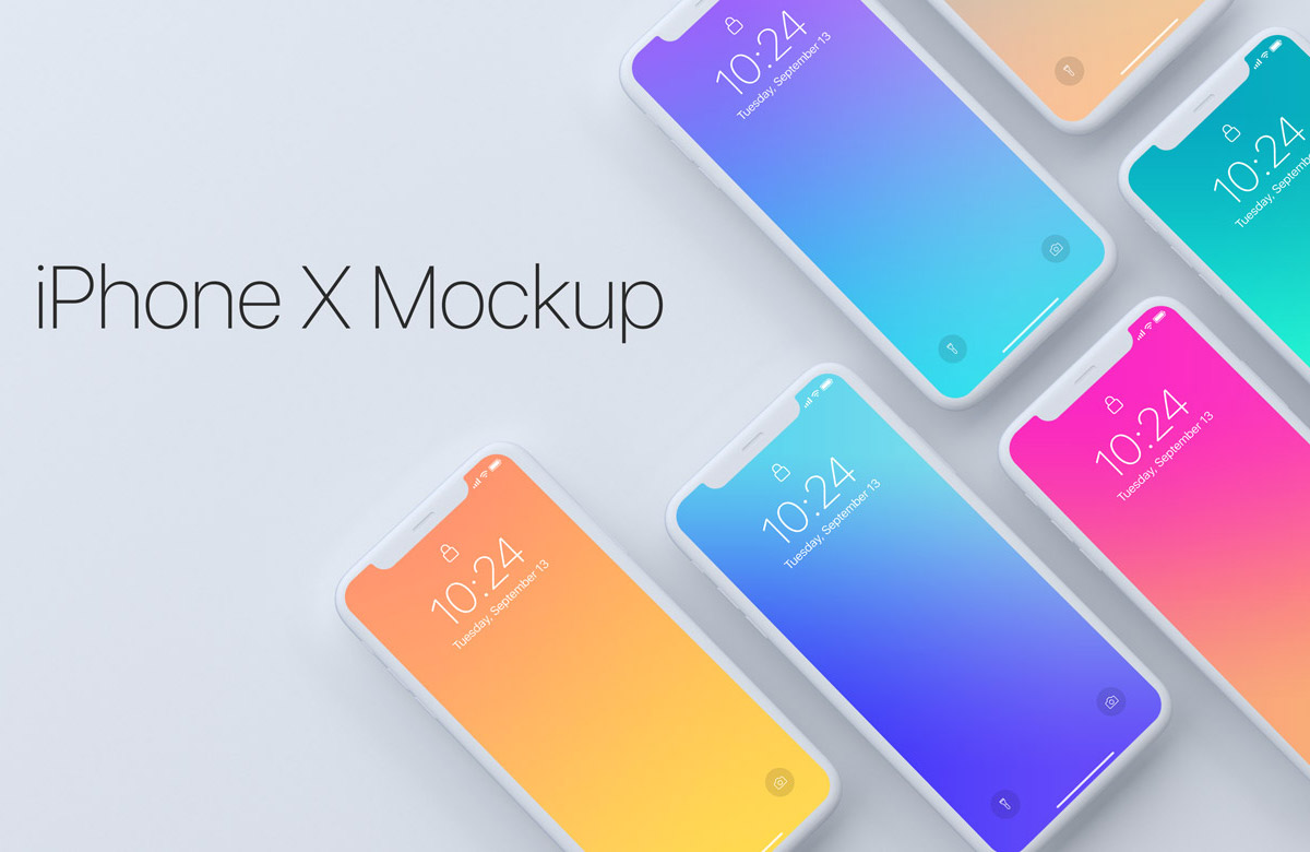 Top View Mockup of iPhone X Devices
