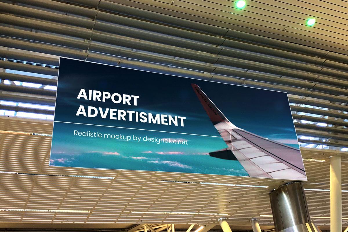 Airport Advertisement Realistic Mockup