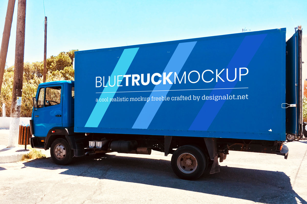 Blue Truck Realistic Mockup Freebie