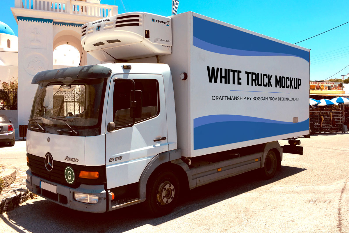 White Truck Realistic Mockup Freebie